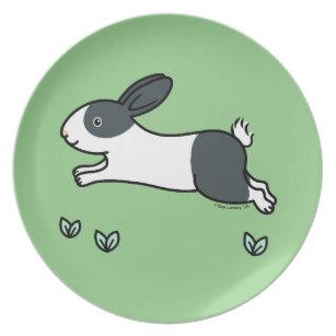 307x307 Black And White Bunny Rabbit Plates Zazzle