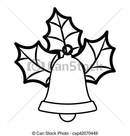 450x470 Golden Bell Silhouette With Christmas Leaves Vector Eps Vector