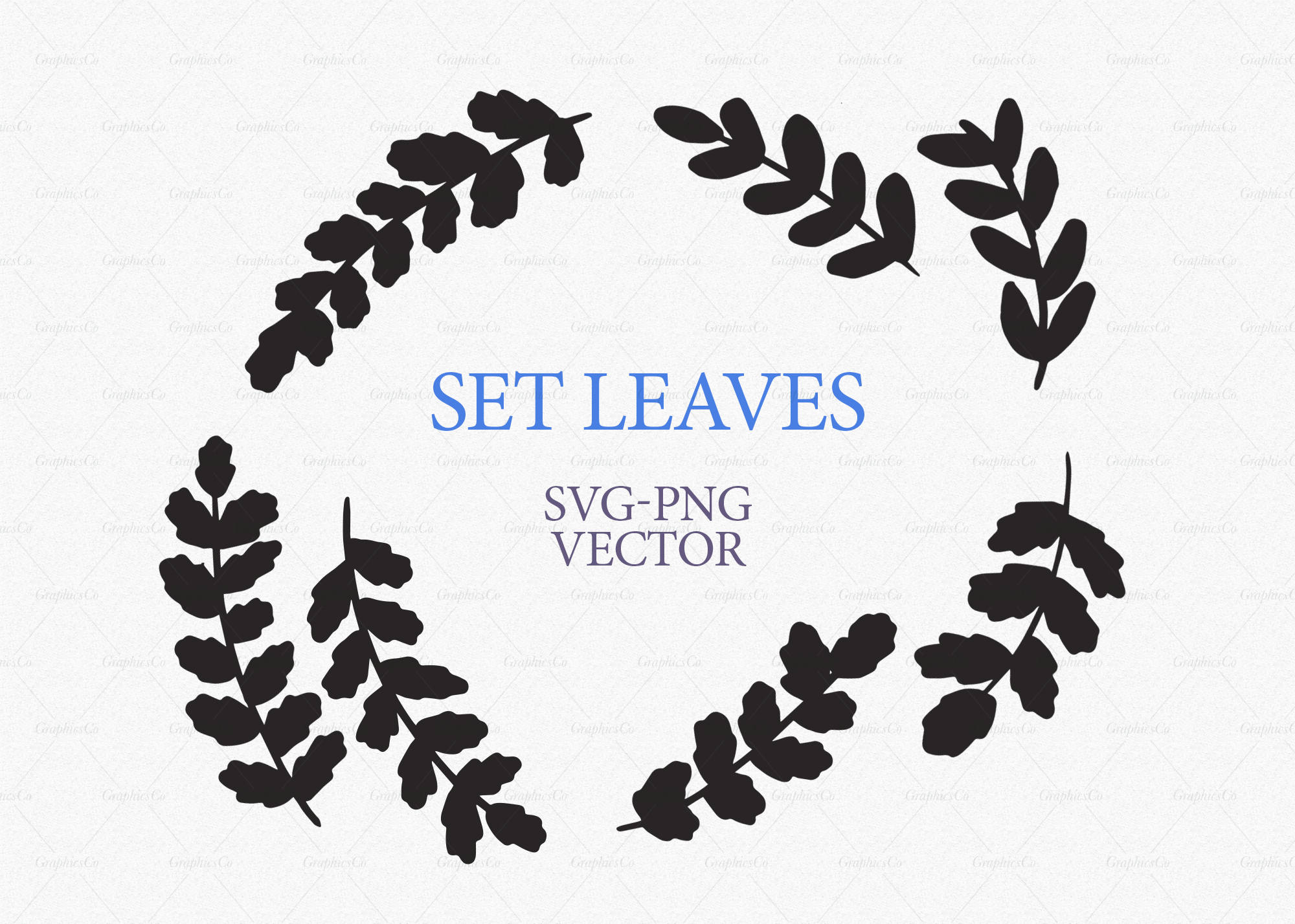 2000x1428 Leaves Clipart, Set Hand Drawn Herbs Clipart, Leaves Silhouette