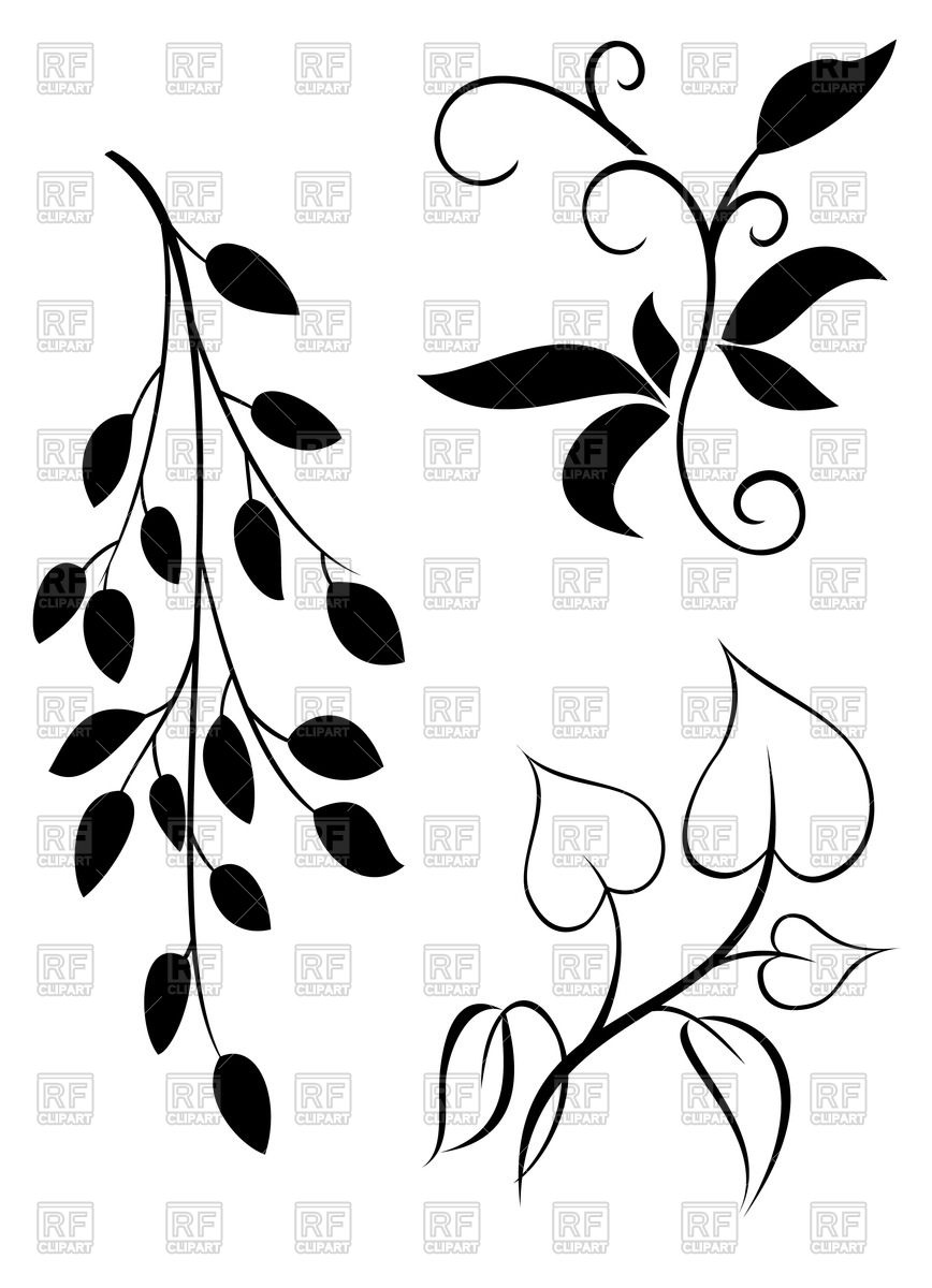 868x1200 Silhouettes Of Elegant Twigs And Leaves Royalty Free Vector Clip