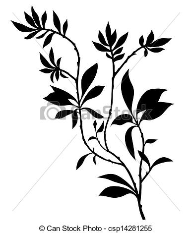 387x470 Tree Branches Silhouette With Lot Of Leaves. Vector Clipart