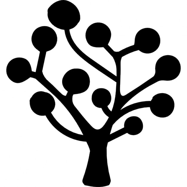 626x626 Tree Silhouette Of Circular Leaves Icons Free Download