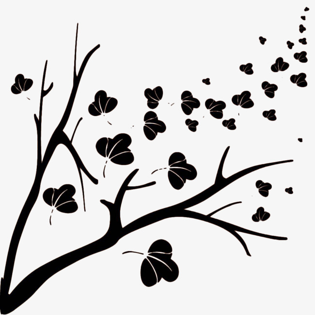 650x651 Black Wind Blowing Leaves Silhouette, Hand Painted, Black, Wind