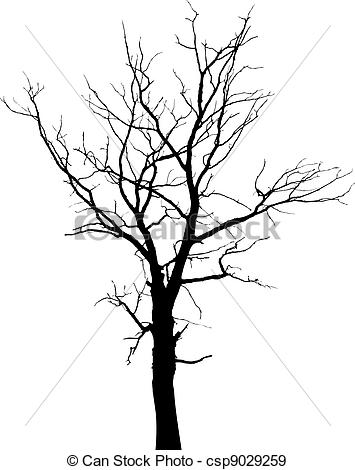 355x470 Silhouette Of Dead Tree Without Leaves. Dead Tree With Eps