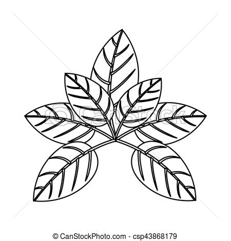 450x470 Silhouette Of Leaves With Ramifications Vector Illustration