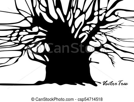 450x343 Tree Silhouette Without Leaves. Tree Without Foliage Vector