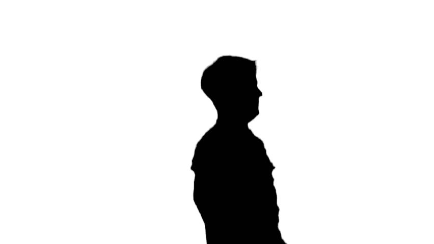 852x480 Silhouette Of A Boxer In Training On A White Background Stock