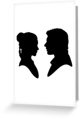 277x415 Leia Han Silhouette Greeting Cards By Askhamsretail Redbubble