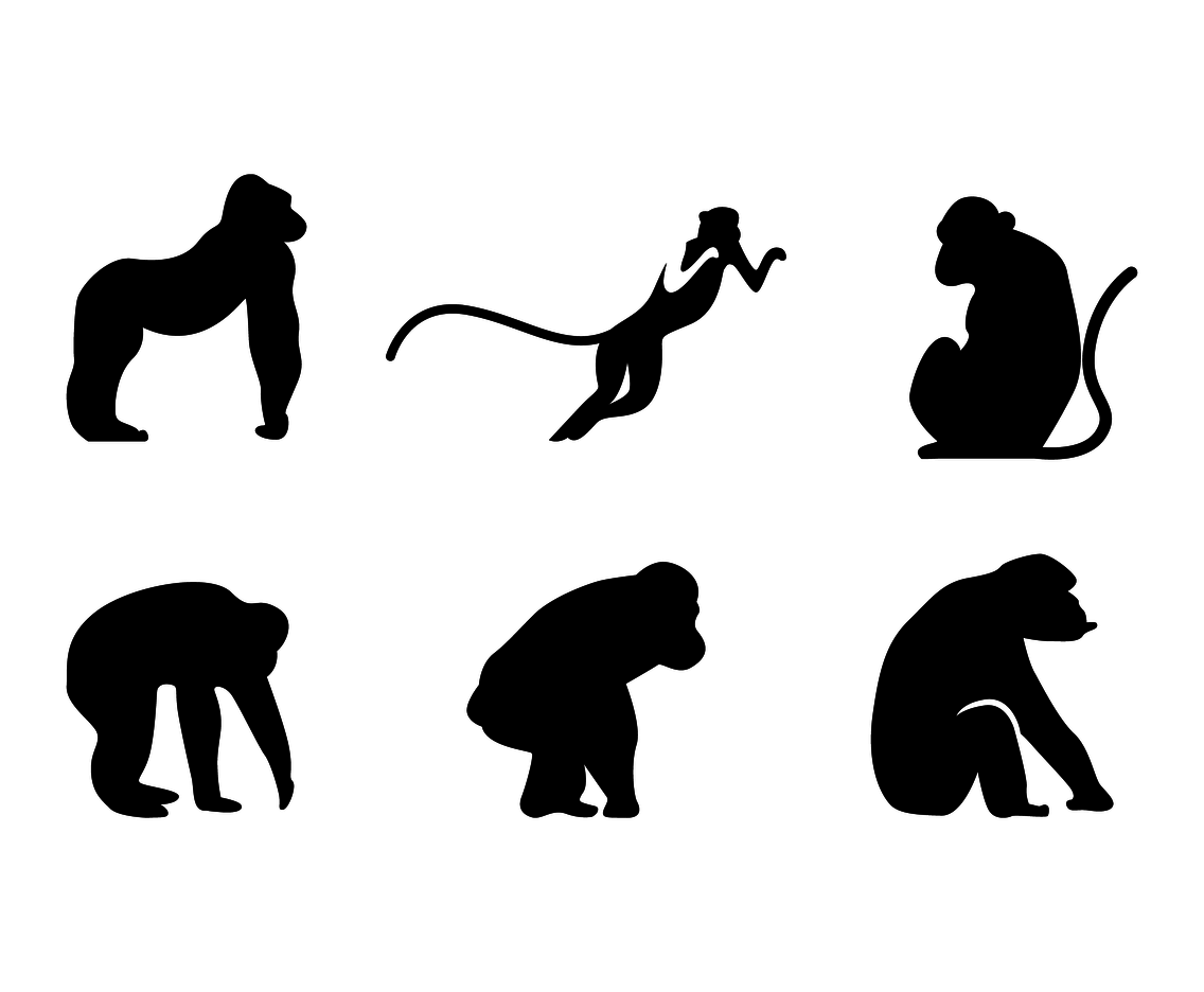 1136x936 Ape Silhouette Vector Vector Art amp Graphics