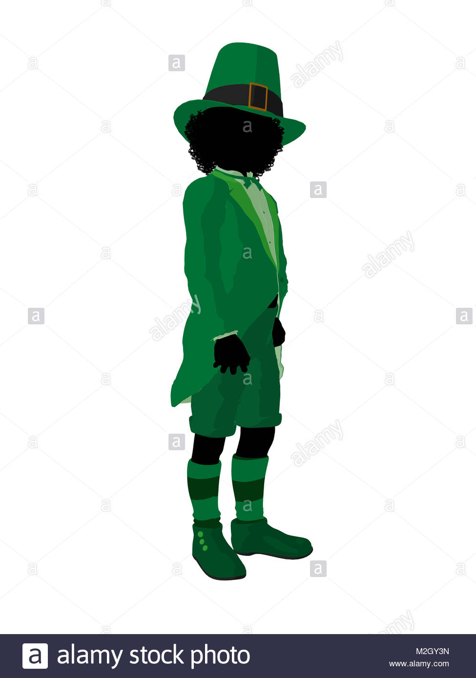 975x1390 African American Leprechaun Girl Silhouette On A White Background