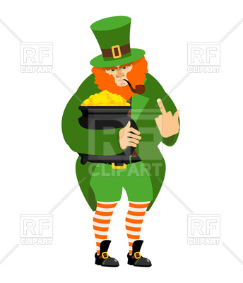 344x400 Angry Leprechaun Fuck And Pot Of Gold Royalty Free Vector Clip Art