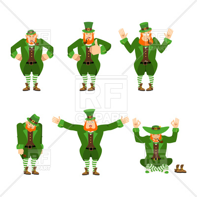 400x400 Leprechaun Set Of Motion. Happy And Sad. Royalty Free Vector Clip