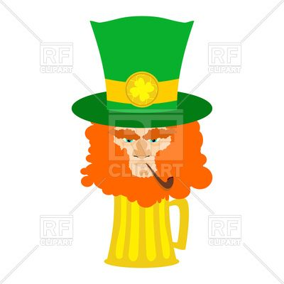 400x400 Leprechaun With Red Beard And Beer. St. Patrick's Day Character