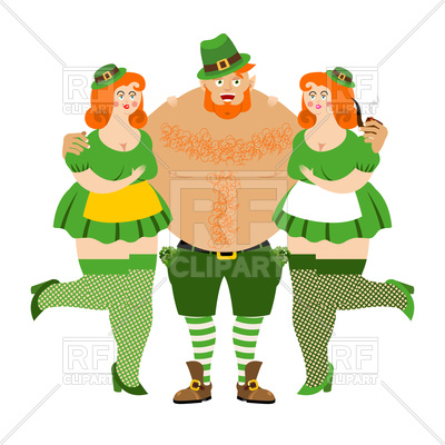 400x400 Leprechaun With Women On White Background Royalty Free Vector Clip