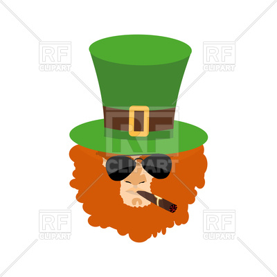 400x400 Bearded Leprechaun Head In Green Hat Royalty Free Vector Clip Art