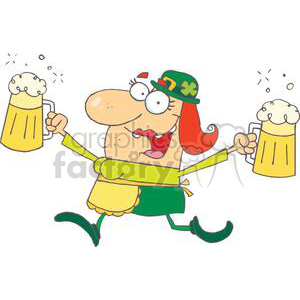 300x300 Royalty Free Happy Woman Leprechaun With Two Pints Of Beer 378945