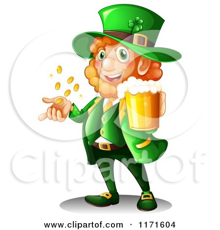 450x470 Cartoon Of A Happy St Patricks Day Leprechaun Holding Beer