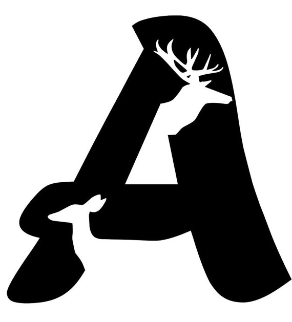 570x629 Letter A Initial With Buck And Doe Silhouette