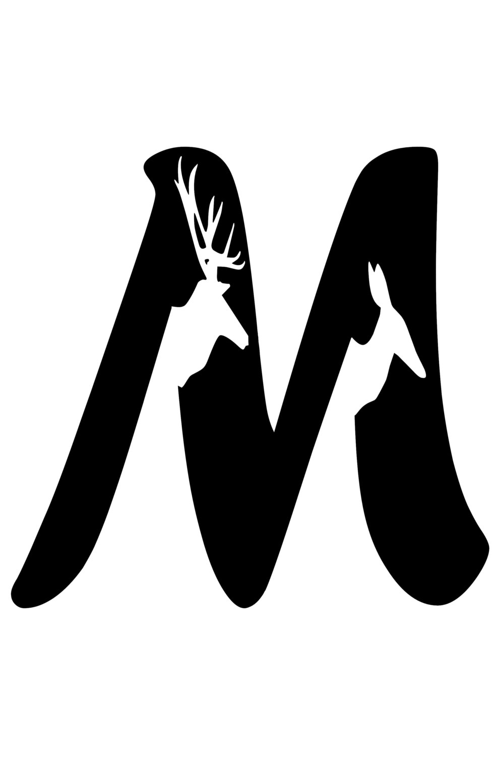 982x1500 Letter M Initial With Buck And Doe Silhouette