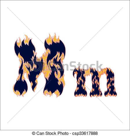 450x470 Fiery Font Blue Letter M On A White Background Vector