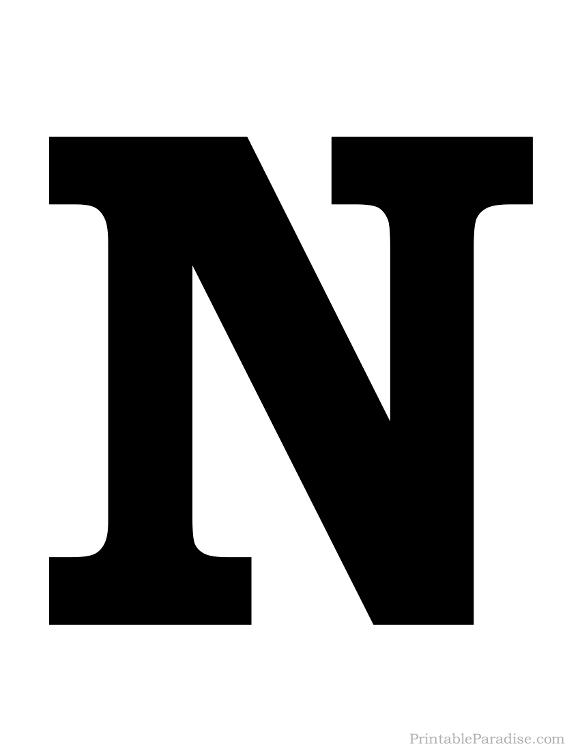 580x751 Printable Letter N Silhouette