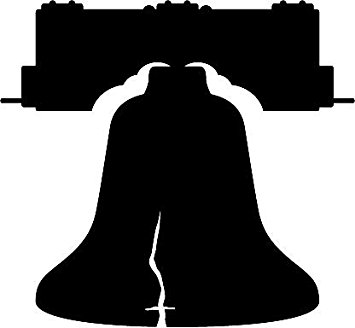 355x328 6 White Vinyl Liberty Bell Silhouette Design Die Cut