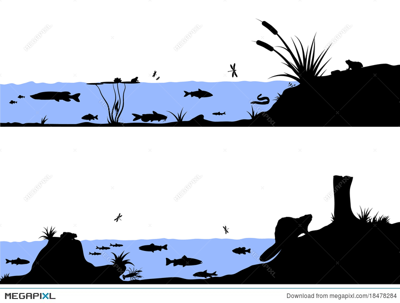 800x605 River Life Vector Silhouette Illustration Illustration 18478284