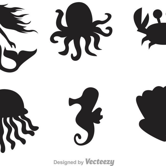650x650 Free Vector Sea Life Silhouette Icons