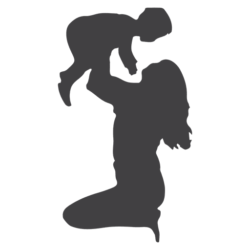 512x512 Mother Lifting Child Silhouette