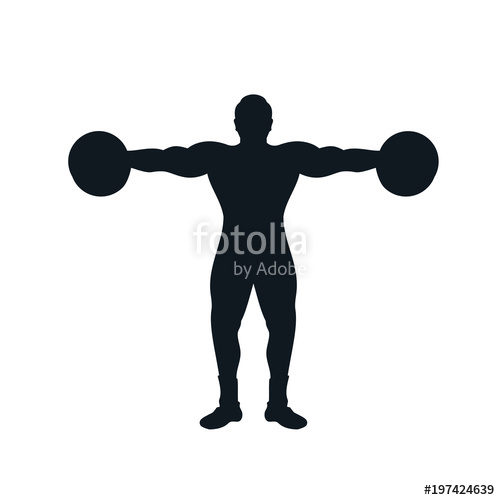 500x500 Silhouette Of A Man Lifting Dumbbell With Powerful Muscle