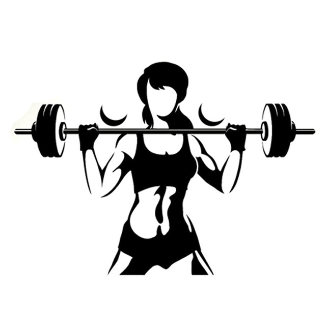 640x640 13.4cm9.5cm Interesting Fitness Weightlifting Sports Silhouette