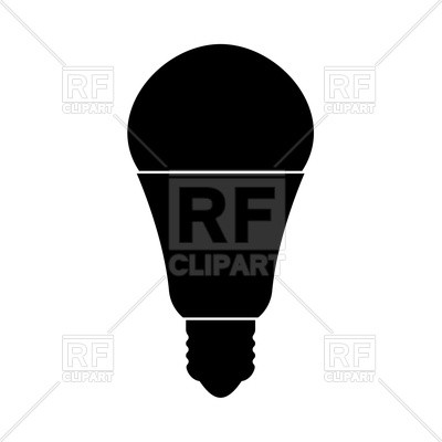 400x400 Led Lightbulb Silhouette Royalty Free Vector Clip Art Image