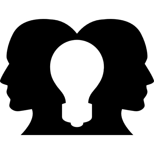 626x626 Two Heads Silhouettes Looking To Opposite Sites With A Lightbulb