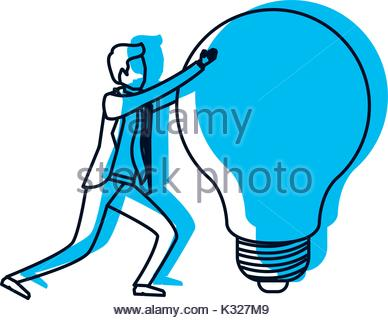 388x320 Businessman Pushing A Big Light Bulb In Pencils Colored Silhouette