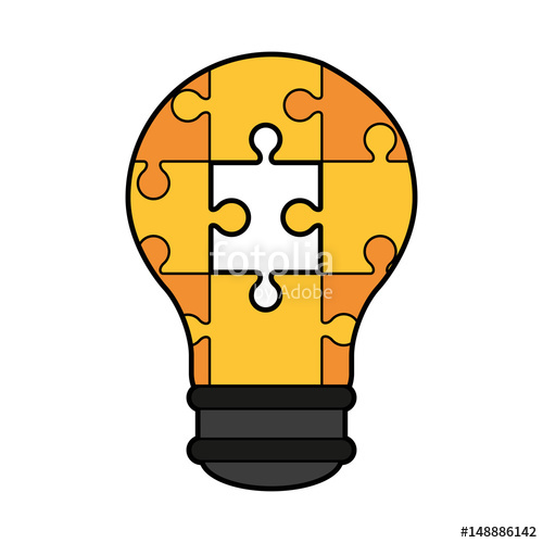 500x500 Colorful Silhouette Light Bulb Of Pieces Puzzle Incomplete Vector
