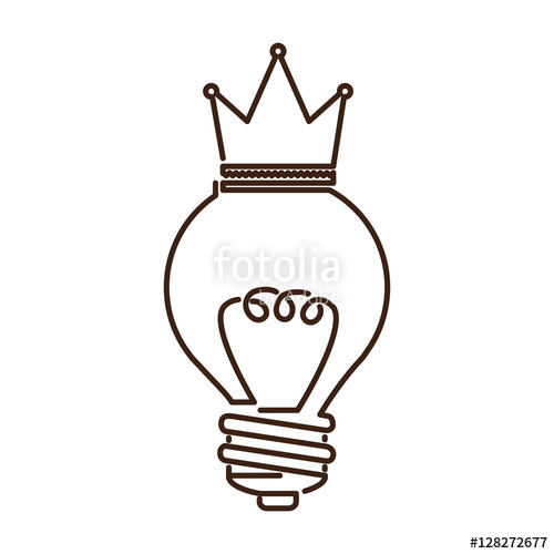 500x500 Silhouette Light Bulb Flat Icon With Top Crown Vector Illustration