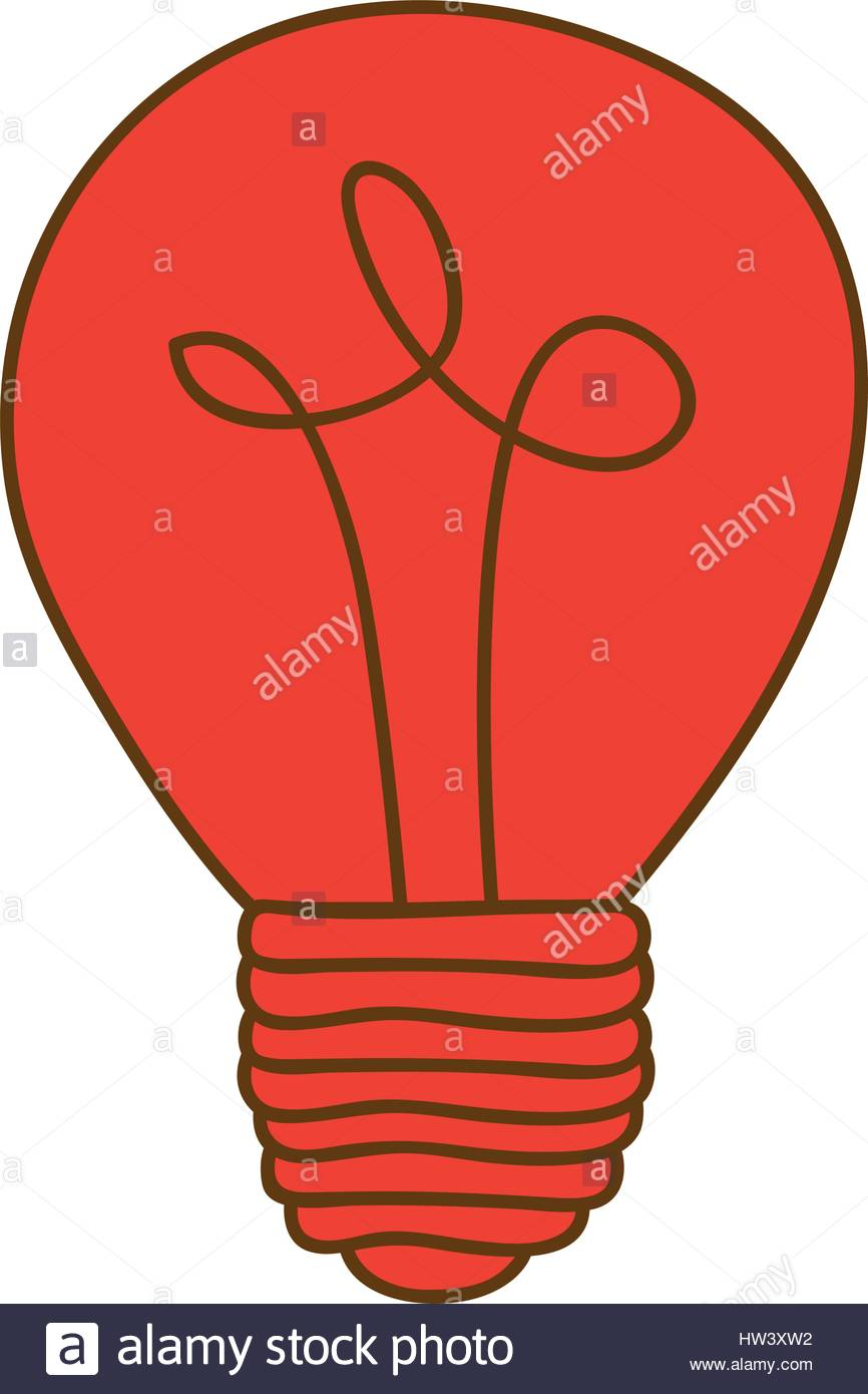 866x1390 Silhouette Of Light Bulb In Red Color Stock Vector Art
