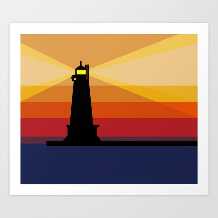 700x700 Lighthouse Silhouette At Sunset In Michigan Art Print