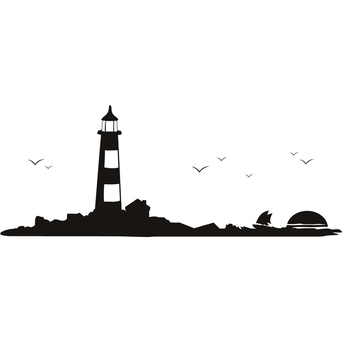 700x700 Lighthouse Wall Sticker Ocean Wall Decal Bathroom Seascape Home