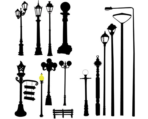 500x400 Lamp Post Silhouette Clipart