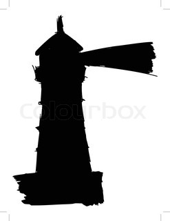 247x320 Lighthouse Silhouette Against The Sky And Sea Stock Vector