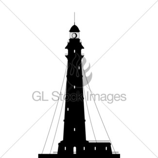 325x325 Lighthouse. Silhouette Of Large Lighthouse Isolated On Wh Gl
