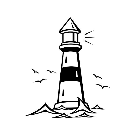 570x570 Lighthouse Beacon Birds Graphics Svg Dxf Eps Png Cdr Ai Pdf Vector