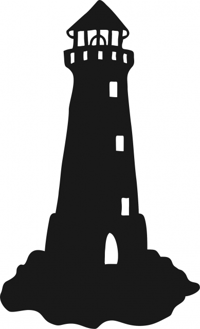 389x640 Lighthouse On Small Rocks Silhouette Laser Cut Appliques