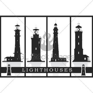 325x325 Lighthouses. Set Of Silhouettes Of Large Lighthouses Over Gl