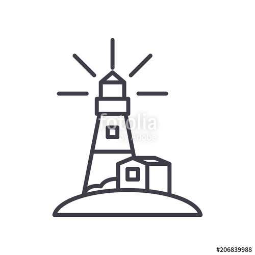 500x500 Lighthouse Black Icon Concept. Lighthouse Flat Vector Symbol, Sign