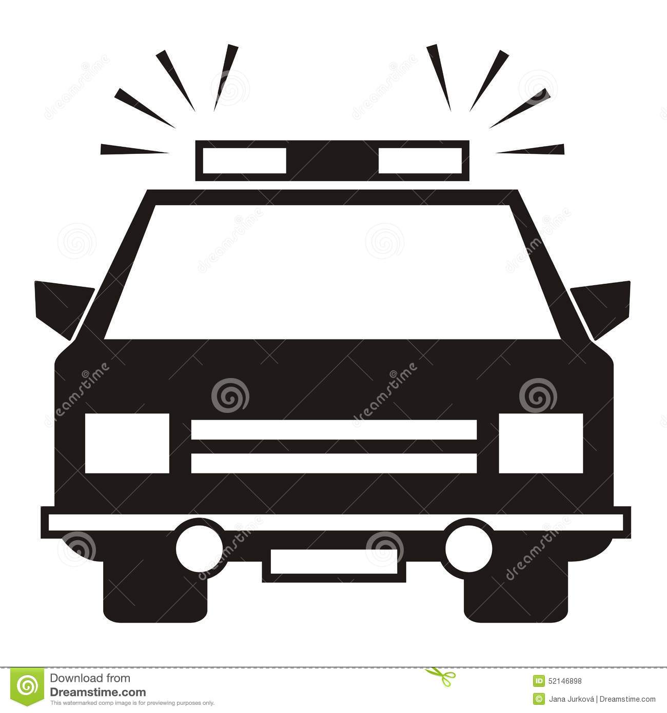 1300x1390 Police Car Vehicle Lighthouse Black Silhouette White Background