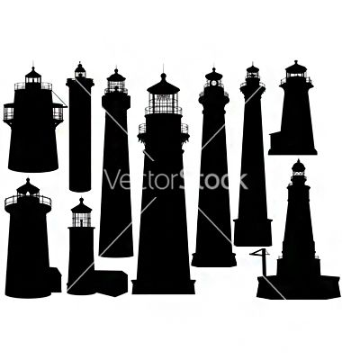380x400 Lighthouse Silhouettes Vector Backdrops For Lc