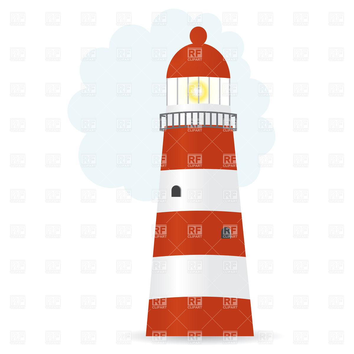 1200x1200 Striped Lighthouse Royalty Free Vector Clip Art Image