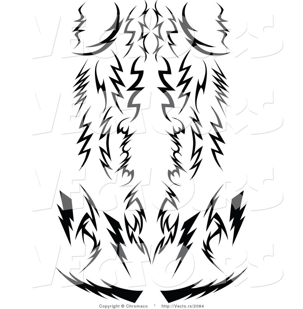 1024x1044 Free Vector Graphic Of Tribal Lightning Bolts Silhouetted Designs